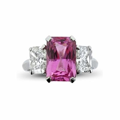 Pink Sapphire & Diamond 3 Stone Ring 3.00ct